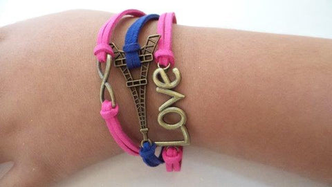 Paris lover bracelet Eiffel Tower bracelet infinity bracelet charm pink and purple leather bracelet girls bracelet girlfriend bracelet - Mud And Majesty