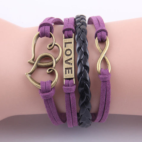 two hearts bracelet love bracelet Infinity bracelet purple bangle girls bracelet girlfriend boyfriend  jewlery Braided bracelet - Mud And Majesty