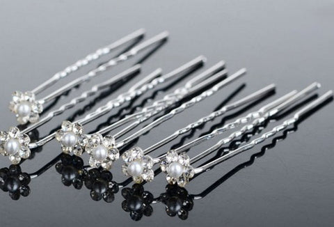 Set of 10 Romantic jeweled pearl flower pin hair accessories Bridal hair pin bridesmaid hair pin prom hair pin Free shipping - Mud And Majesty