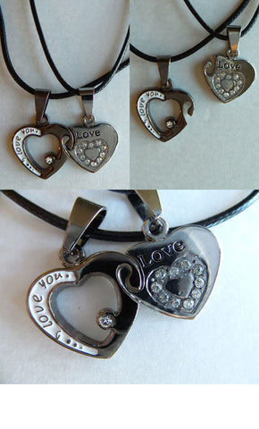 Best friends two separate necklaces set locking hearts two hearts as one sweetheart gift chrome and silver finish jewelry local US seller - Mud And Majesty