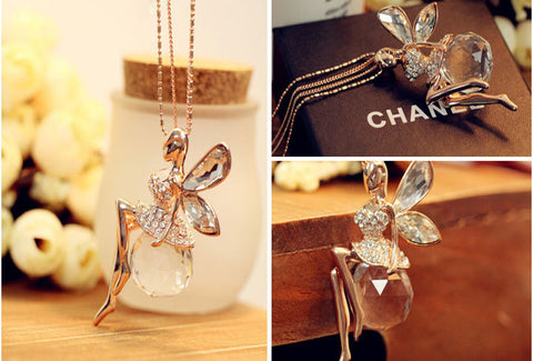 Gold Fairy double chain crystal ball necklace angel wings elegant fairie rhinrstone wings - Mud And Majesty