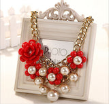 Red-Faux-Pearl-cluster-bib necklace-floral-rosette cluster-Necklace pearl necklace gold bridal jewelry - Mud And Majesty