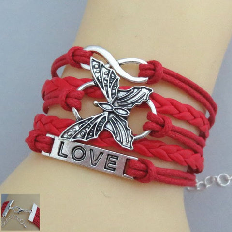 Butterfly-love-bracelet-red-bracelet girlfriend boyfriend  jewlery Braided bracelet-infinity-bracelet friendship Valentine gift - Mud And Majesty