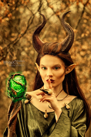 "NEWLY IMPROVED! Young Maleficent Inspired 9.5"" Horns  3D Printed (Ultra Light Weight Plastic) Suitable for kids and adults comic-con - Mud And Majesty"