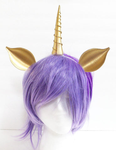 Large Unicorn  horn and ears my little pony horn fairy horn woodland fairy unicorn headband 3D print (Ultra Light Weight Plastic) comic-con - Mud And Majesty