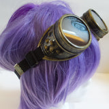 Vintage gold finish steampunk goggles steam punk clear or tinted removAble lenses adjustable band will fit child or adult DIY - Mud And Majesty