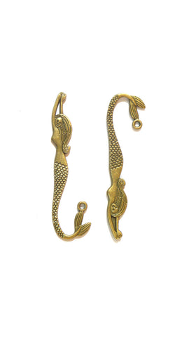 Set of 5 bronze alloy mermaid charms for diy bracelet and necklace making. - Mud And Majesty