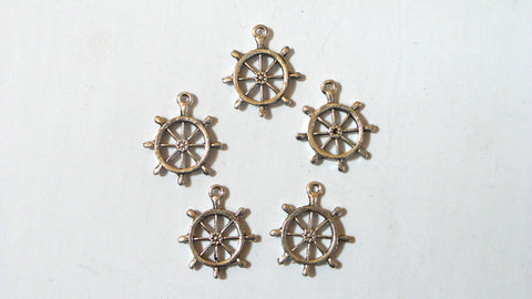 Set of 10 silver alloy Boat Wheel charms for diy bracelet and necklace making. - Mud And Majesty