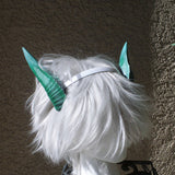 Deanerys Dragon inspired 3d printed horns on headband DIY costume addition dragon ears green lizzard horns - Mud And Majesty