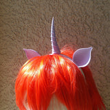 Lavender Unicorn  horn and ears my little pony horn fairy horn woodland fairy unicorn headband 3D print comic-con - Mud And Majesty