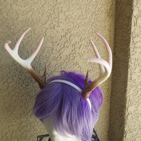 NEW ARRIVAL! Realistic Christmas Doe/Deer Antlers Horns  3D Printed (Ultra Light Weight Plastic) Baby pink tips Reindeer Antlers comic-con - Mud And Majesty