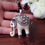 Black bead White elephant necklace Free shipping elephant necklace Tebetian Jewelry Necklace Long black bead necklace - Mud And Majesty