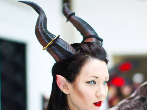 "NEWLY IMPROVED! 12.5"" Maleficent Inspired Horns  3D Printed (Ultra Light Weight Plastic) Suitable for adults comic-con - Mud And Majesty"