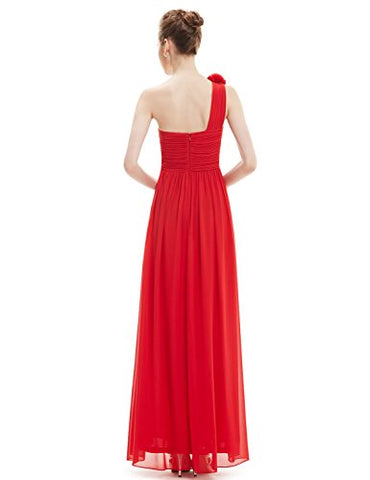 One Shoulder Long Bridesmaids Evening Party Dress Red Prom Dresses