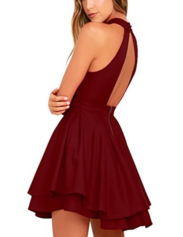 Women's Sleeveless Halter Neck A-line Pleated Mini Dress for Prom evening wear