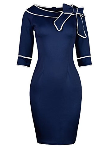 Women's 1950s Slim Half Sleeve dress suit wear to Work Casual Office Pencil Dress