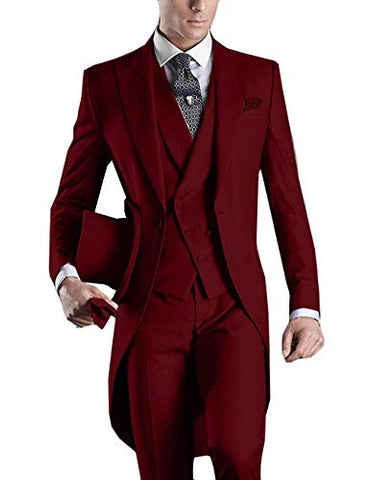2019 Classic Hand Made 3 Pieces Tuxedo Maroon One Button Regular Fit Long Tail Mens suit