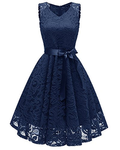 Women's Blue Lace dress V Neck Vintage Sleeveless Party Cocktail Knee Length Prom Dresses