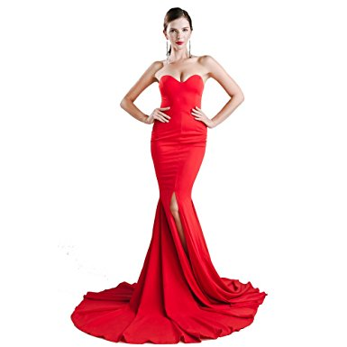 Red Prom Dress Strapless Asymmetric Slit Front  Maxi long Prom Dress