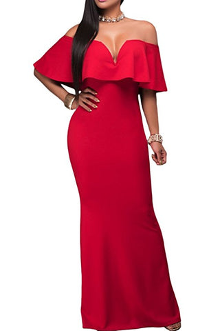 V Neck Ruffle Off Shoulder Evening Maxi Party Dress