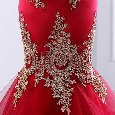 Mermaid Dress for Women Long Red Prom Dresses with Embroidery