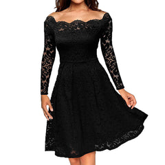 Elegant Lace See Through Black Tunic Dress A-Line Slash wave neck Skater Dress