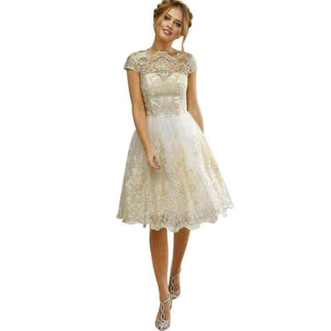 Lace Embroidery Luxury Satin Short Sleeved Bridesmaid Dress