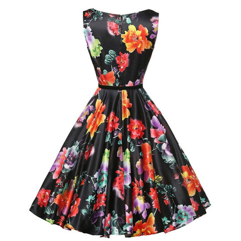 Women's Vintage Sleeveless Boatneck Pinup Floral Dress With Belt for Cocktail Party