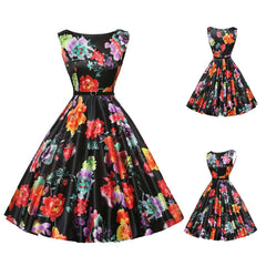 Women Vintage dress Retro Sleeveless Boatneck Pinup Dress With Belt