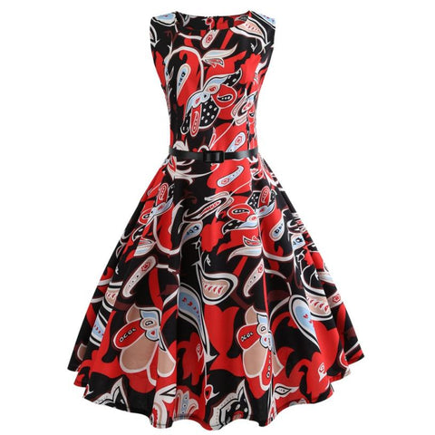 Africa Floral Print Bodycon Sleeveless Vintage Dress With High Waist Sashes for Party Prom