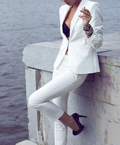 Custom Made Women white Tuxedos Formal Business Office 2 Piece Suit