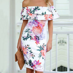 Floral Print Off the Shoulder Ruffles Short Sleeve Knee Length Bodycon Dresses