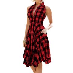 Vintage Bodycon Plaid Sleeveless Zipper Irregular Hem Evening Party Red Dress
