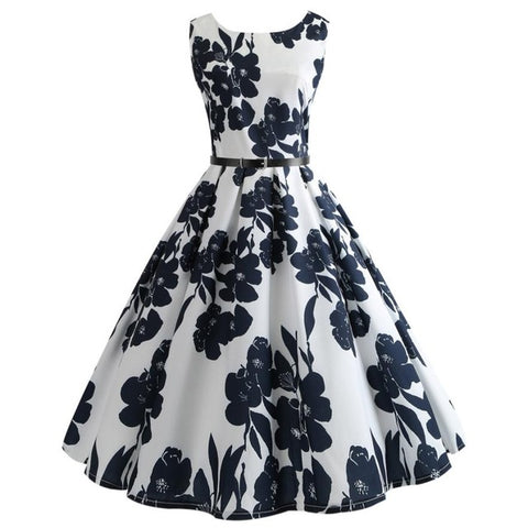 White O Neck Vintage Slim Mini Floral Dress Women Print Bodycon Sleeveless Casual Party Dresses