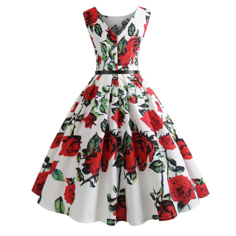 Women's Floral Vintage Sleeveless Bodycon 50s 60s Dress for Party Cocktail Prom