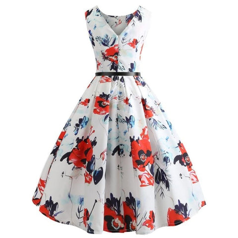 Vintage 50 60s Floral Printing Hepburn Elegant Bodycon Sleeveless Party Swing Plus Size Dress