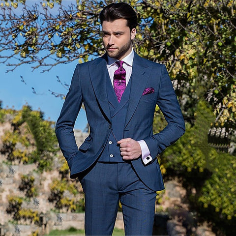 2019 Custom Made Navy Blue Slim Fit Formal 3 Pieces Mens Suit Single Breasted