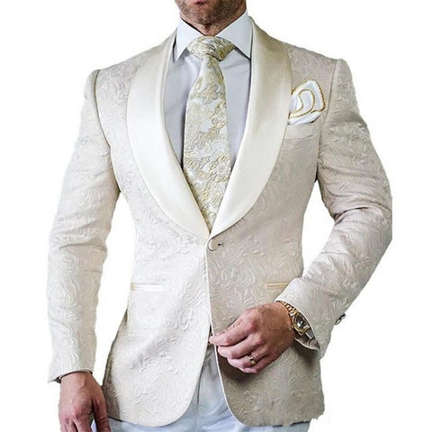 Valentina San Soucie Hand Made One Button Shawl Lapel Ivory Suit Regular