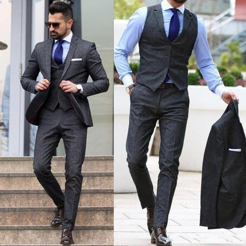 Slim Fit Dark Grey Tuxedo Custom Made Formal Men Single Breasted Suit