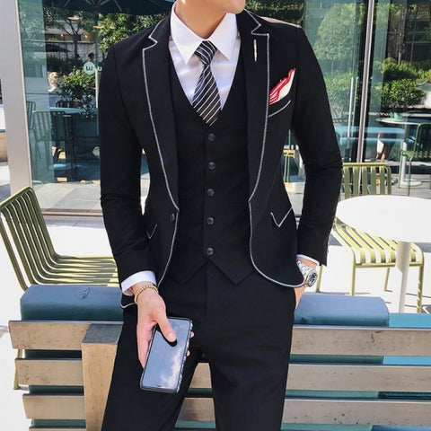2019 Latest Hand Made Designs Slim Fit 3 Pieces Men's Suits Wedding Prom