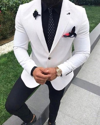 Custom Made Peaked Lapel 2019 Slim Fit Mens Suits Wedding Prom Business Occassions