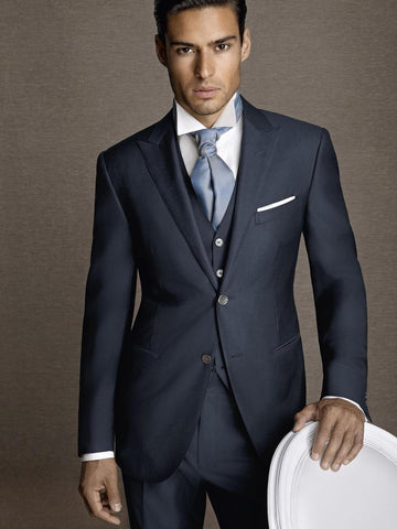 Single Breasted Custom Made Navy Slim Fit Suit mens Tuxedos 3 Piece Suit