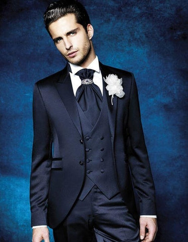 Modern 3 Pieces Custom Made Latest Designs Slim Fit Navy Blue Men Suit