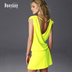 Plus Size V Collar Sexy Backless Dress 2019 Summer Yellow Black White Sundress