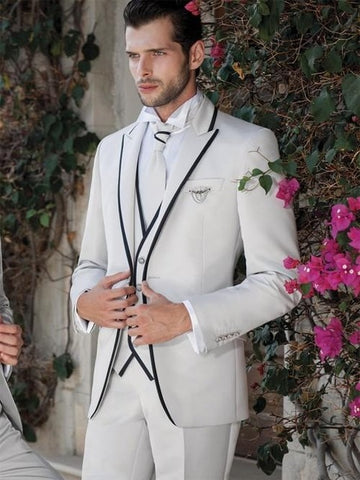 2019 Classic Style Custom Made Ivory Tuxedos Groomsmen Wedding 3 piece Suits Tie