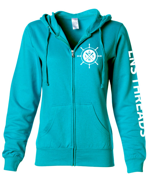 "Women's Zip-up ""Ship's Wheel"" Hoodie"