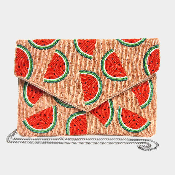 Beaded Watermelon Clutch