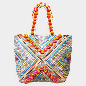 Pom Handle Tote Bag
