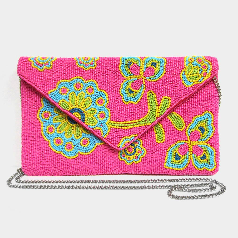 Beaded Floral Clutch