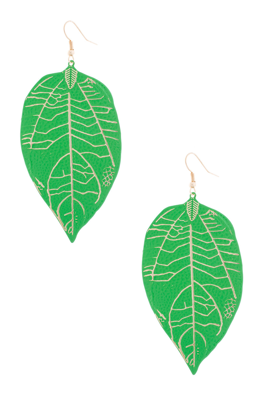 Type 3 Green Leaf, Gold Veins Earrings